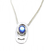 Rainbow moonstone pendant on silver 925 snake chain (1)